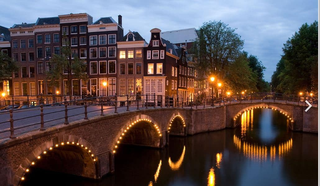 Amsterdam Waterway At Night